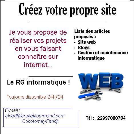 Cliquez ici pour commencer votre site